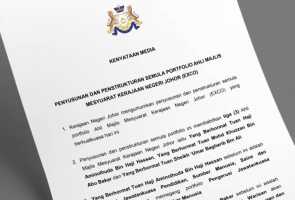 Johor umum penstrukturan semula 3 portfolio Exco