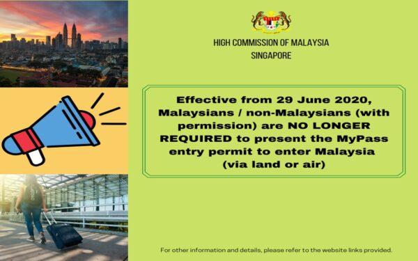 Permit MyPass tidak lagi diperlukan – Suruhanjaya Tinggi Malaysia di Singapura